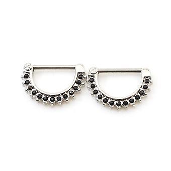 Nipple klikker med flere kubiske zirkonia perler runde form 14g