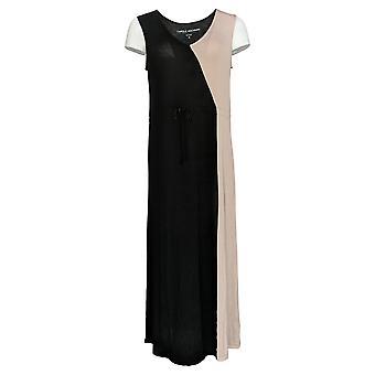 Carole Hochman Women's Gown Two Tone Design V-Neck Maxi Black A373463