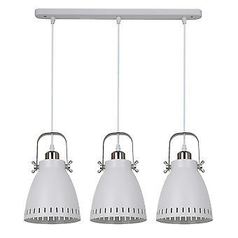 Italux Franklin - Colgante colgante industrial y retro colgante blanco, luz de níquel satinado 3 con sombra blanca, E27