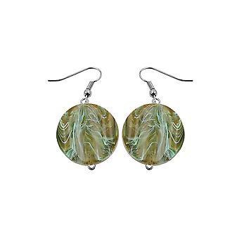 Koukku korvakorut marmoroidut helmiä oliivinvihreä