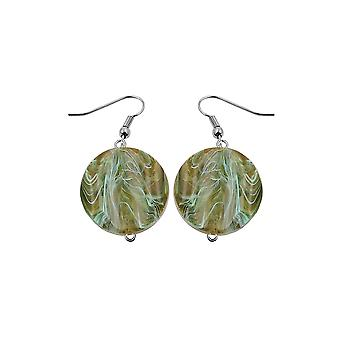 Hook Earrings Marbled Beads Olive Green