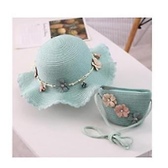 Kids Wide Brim Straw Woven Sun Protection Beach Hat, Flowers Summer Travel