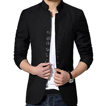 Muži čínský styl tunikový oblek bunda mandarinka stojan límec kung fu kabát