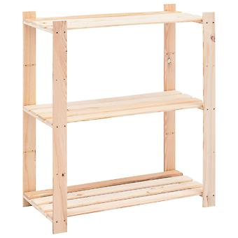 Storage shelf with 3 floors 80×38×90 cm Pine solid wood 150 kg
