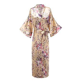 Femmes Longue Robe Print Flower Peacock Kimono Bath Gown Bride Sleepwear