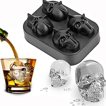 Ice Cube Tray 3d Skull Silicone Mold 4-holte Diy Ice Maker