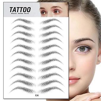 4d Hair-like Eyebrow Sticker Black Brown Semi-permanent Water Transfer