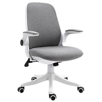 Vinsetto Swivel Office Chair Breathable Fabric Study Computer Chair with Flip-Up Arm for Home, Grey