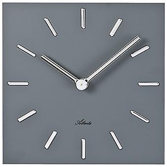 אטלנטה 4510/4 שעון קיר קוורץ ריבוע אפור אנלוגי מרובע