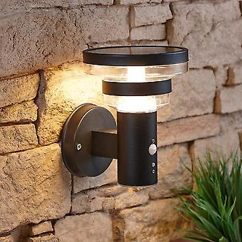 Modern Circular Black Outdoor Garden Solar Powered Wall Light Motion Sensor IP44