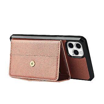 Musta iphone 12/12 pro iskunkestävä puhelinkotelo korttipaikan lompakkoon