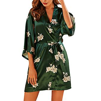YANGFAN Womens Printed Nightgowns 3/4 Sleeve Sleepwear Comfy Nightshirt S-XL