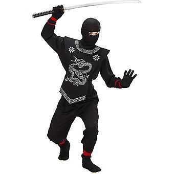 HanFei 74526 - Kinder Kostm Ninja, Anzug und Maske, Gre 128