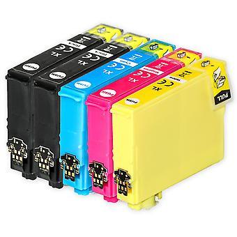 1 set van 4 + extra zwarte inktcartridges ter vervanging van Epson 502XL+502XLBk Compatible/non-OEM van Go Inks (5 Inkten)