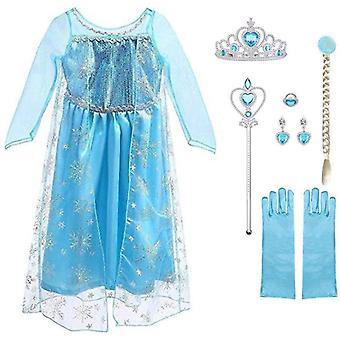 FengChun Mdchen Prinzessin ELSA Kleid Kostm Eisprinzessin Set aus Diadem, Handschuhe, Zauberstab