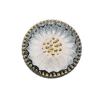 Tjekkisk glas flad ryg knap Cabochon, Sunburst Flower 18,5 mm runde, 1 stykke, sort hvid og guld