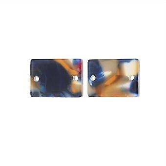Zola Elements Acetate Connector Link, Rectángulo Crepúsculo 14x10mm, 2 Piezas, Azul Multicolor