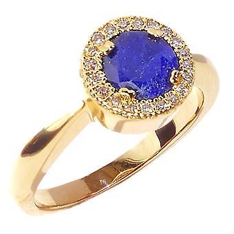 ah! Bijoux Or Rempli VÉRITABLE Précieux 1.45ct SAPPHIRE Halo Ring. Pierre précieuse entourée de petits tours brillants.