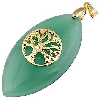 KYEYGWO - Collana da Donna con Ciondolo a Forma di amuleto in Pietra Naturale Lucida e Lega, Colore: Gruner Aventurin(Baum Oval Ref. 0715444084812