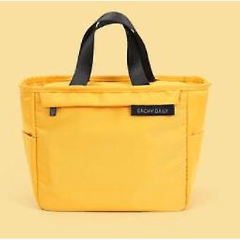 Fresh Cooler Nylon Portable Zipper Thermal Lunch Handbags Picnic Box Food Container Storage(Yellow)