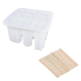 9 Cells Silicone Ice Lolly Mould DIY Ice Cream Maker Ice Cube Tray Molds(17*16*10cm,White)