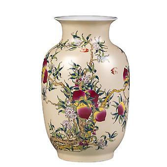 美しい中国のアンティーク手作りの陶磁器の陶磁器の桃の花瓶家の装飾