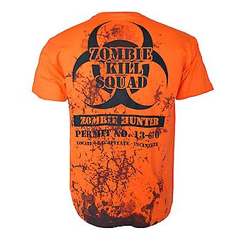 Darkside ZOMBIE HUNTER PERMIT TO KILL Heren T-Shirt (Oranje)