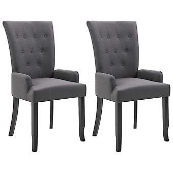 sillas de comedor vidaXL con reposabrazos 2 piezas. Tela gris oscura