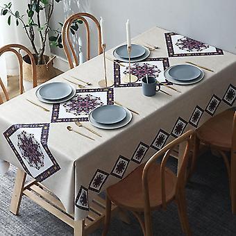 Pvc للماء والنفط واقية من مفرش المائدة نمط أنيق مناسب لطاولة الطعام مستطيلة