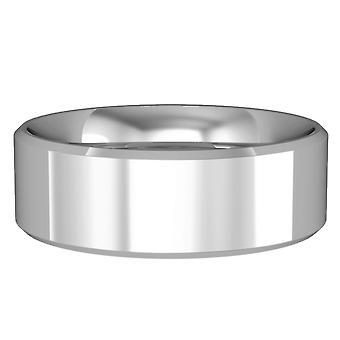 ジュエルコ ロンドン 9ct ホワイトゴールド - 7mm エッセンシャル フラットコートベベルバンドコミットメント / 結婚指輪