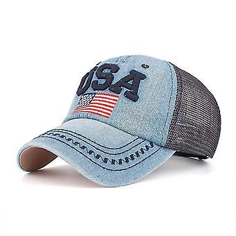 Etats-Unis American Flag Denim Baseball Cap Mesh Snapback Hat Gorra