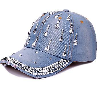 ריינסטון בייסבול כובע ג'ינס רקמה רקמה סנאפבק כובעים
