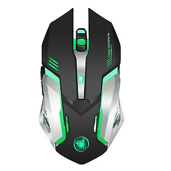 Mouse Hxsj Rechargeable Wireless Colorful Glowing Gaming Mouse (black-2.4g-2400dpi)