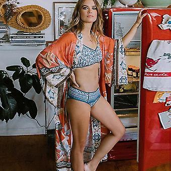 פרחי Crame מודפס קימינוס קרדיגן בגדי חוף שיפון Suncreen ביקיני לכסות