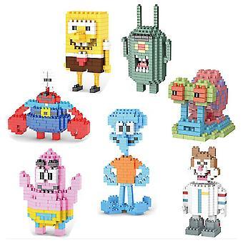 7 stuks / set bouwstenen Spongebob Squarepants Kinderen Figuur Speelgoed Creatieve Stenen