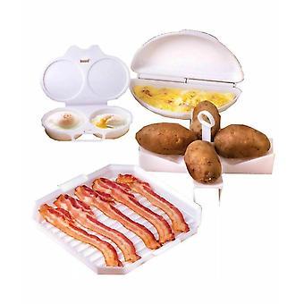 4-stycke mikrovågsugn matlagning set ägg poacher bacon potatis omelett frukost maker