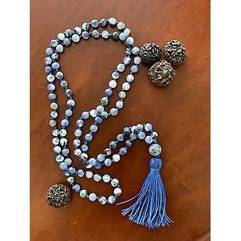 6mm 108 Perle Sodalite Mala Hånd knyttede Mantra Sound Healing