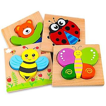 Skyfield Wooden Animal Puzzles For Toddlers 1 2 3 Years Old, Boys & Girls Educational Toys Gift With 4 Animals Patterns, Bright Vibrant Color Shapes,
