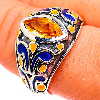 Faceted Citrine Ring Size 9.75 (925 Sterling Silver)  - Handmade Boho Vintage Jewelry RING77407