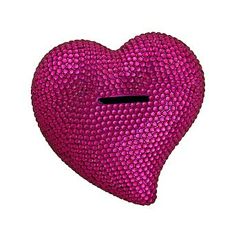 Heart and Soul Bright Pink Razzle Dazzle Rhinestone Heart Bling Bank