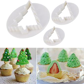 3pcs Christmas Tree Cake Decorating Paste Cookie Mold Plunger Cutter Diy