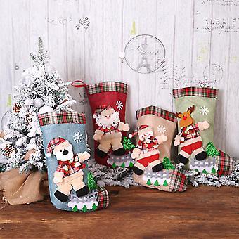 Mimigo 4 Packs Weihnachtsstrümpfe, 16 Zoll Sets Strumpf mit Weihnachtsmann, Schneemann, Rentier, 3D Plüsch Weihnachtsdekor Für Familienurlaub Weihnachtsfeier Orname
