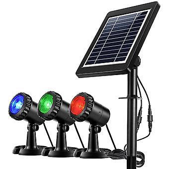מקרנים סולאריים עמידים למים 3 מנורות גראב, מתכוונן Ip68 מנורה חצר קיר כביש-כיבוי אוטומטי (אדום ירוק כחול)