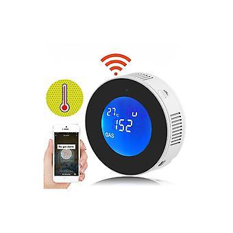 Tuya Wifi Erdgas Lecksuchgerät Erkennung Alarm Gasdetektor LCD Temperatursensor für smartes Leben