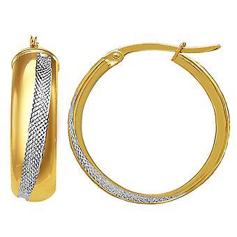 14K 2 Tone Gold ronde buis Hoop Earrings Hoop Earrings, Diameter 20mm