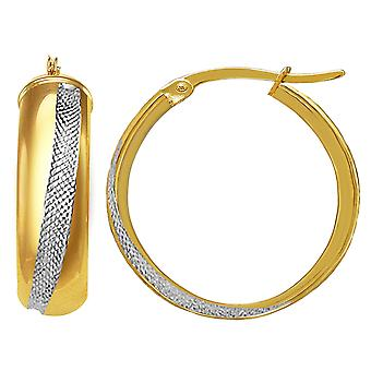 14K золото 2 тона вокруг трубки Хооп серьги, диаметр 20 мм