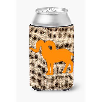 Sheep Burlap and Orange Can or Bottle Beverage Insulator Hugger BB1007