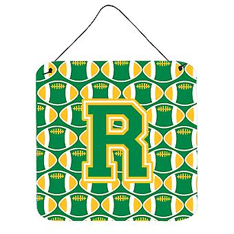 Letter R Football Green and Gold Wall or Door Hanging Prints