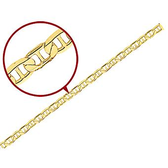 Concave 3mm Anchor Chain Bracelet 8 Inches in 14K Yellow Gold