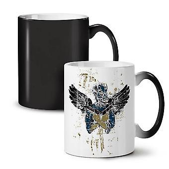 Rewolwer Anioł Fantasy nowy kolor czarny, zmiana herbata kawa ceramiczny kubek 11 oz | Wellcoda